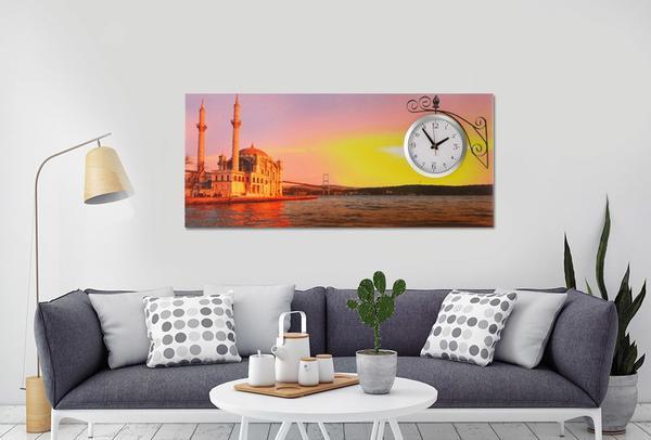 Saatli Duvar Tablosu İstanbul 87cm
