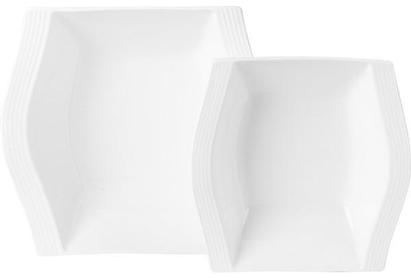 Almina 2 Parça Servis Kase Seti Dalgalı Kare | Beyaz | AL-7030
