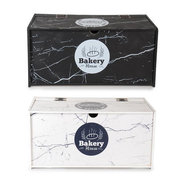 İpek | Siyah Beyaz Kapaklı Ahşap Ekmeklik | MY17