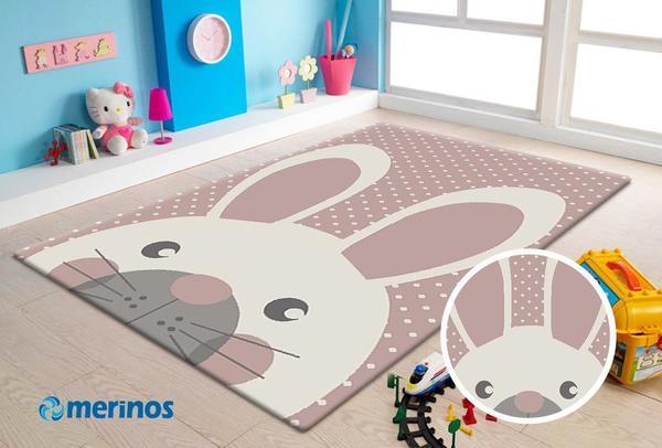 Merinos Pastel Kids Tavşan Desenli Çocuk Odası Halısı | 20341-255-Pink
