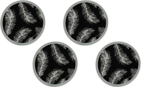 Dekonaz Kristal Tozlu Tüy İşlemeli Yuvarlak Bardak Altlığı | Siyah