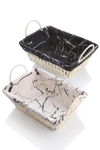 Queen's Kitchen   Mermer Desenli Kumaş Kaplı Hasır Ekmeklik