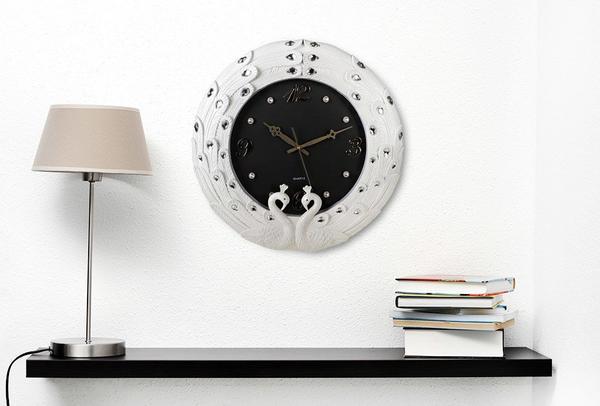 Çınar Rüya Kuğu Tasarım Duvar Saati | Beyaz - Siyah | 6538
