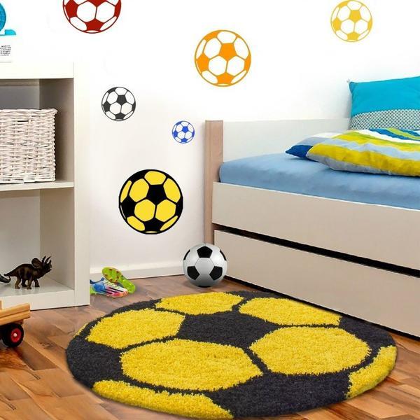 Ayyıldız Fun Futbol Topu Desenli Halı | Sarı & Beyaz | 6001-Yellow