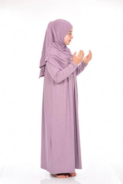 İhvan Çocuk Pratik Namaz Elbisesi 8-12 Yaş Gül Kurusu