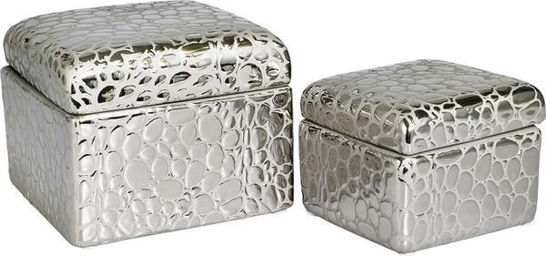 Dekonaz İkili Dekoratif Taşlı Takı Kutusu | Gümüş