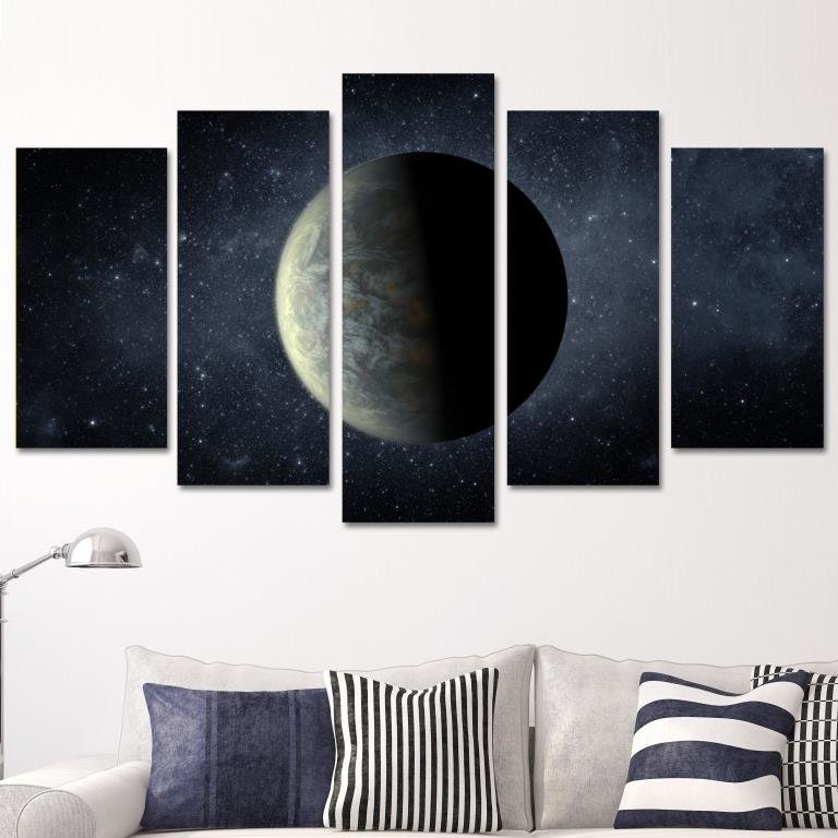 5 teiliges wandbild mdf mond und universum portrait. Black Bedroom Furniture Sets. Home Design Ideas