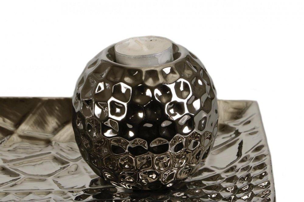 moderne 4 tlg Deko Kerzenhalter Kerzenständer Tischdeko mit Platte aus Porzellan