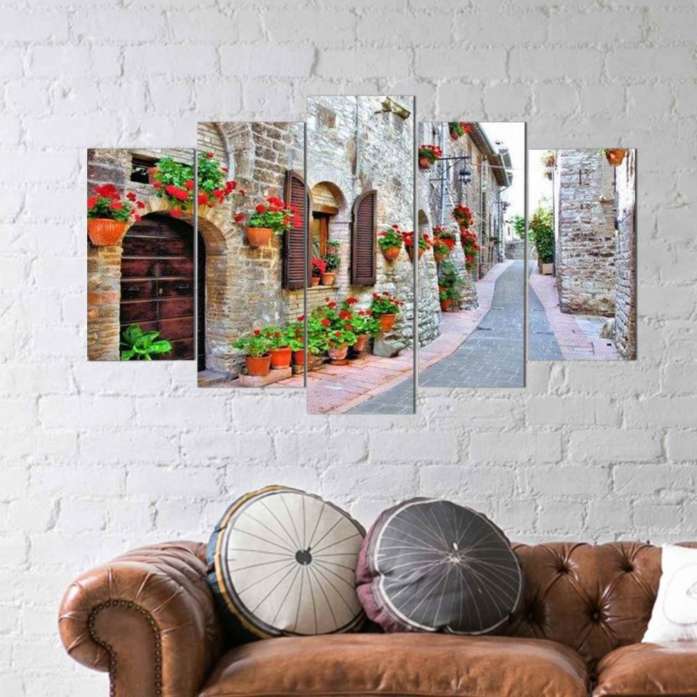 5 teiliges wandbild mdf wundersch ne stra e mit blumen. Black Bedroom Furniture Sets. Home Design Ideas