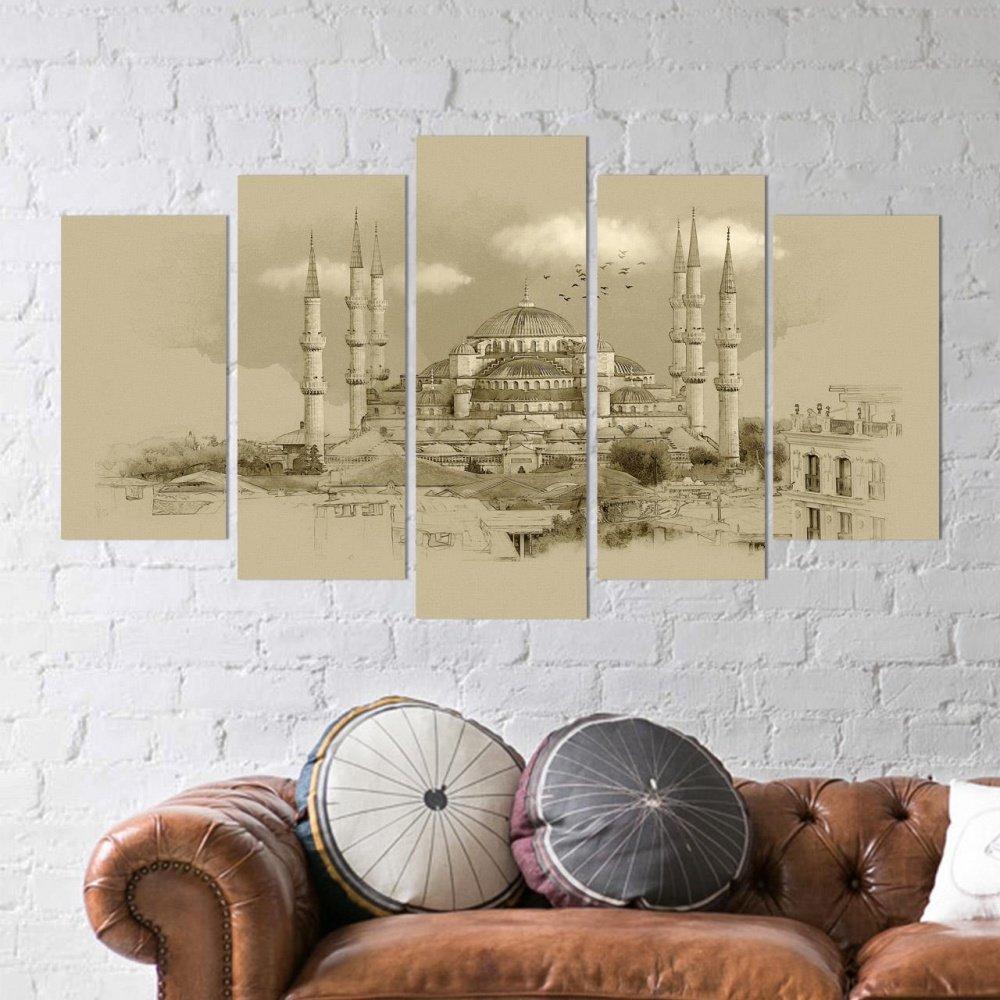 religi se wanddekoration 5 tlg wandbild mdf sultan ahmet. Black Bedroom Furniture Sets. Home Design Ideas