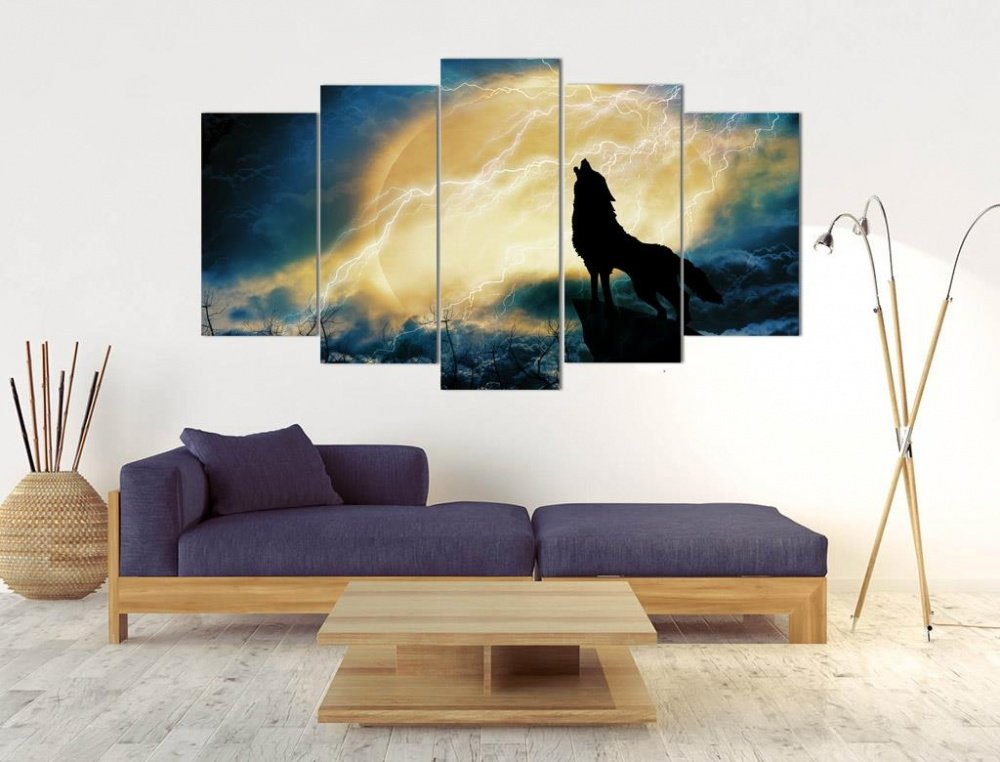 5 teiliges wandbild mdf wanddekoration bozkurt graue w lfe heulender wolf t rkis ebay. Black Bedroom Furniture Sets. Home Design Ideas