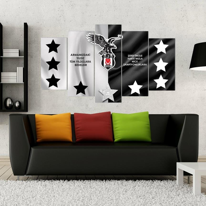 5 teiliges wandbild mdf besiktas carsi kartal bjk 1903. Black Bedroom Furniture Sets. Home Design Ideas